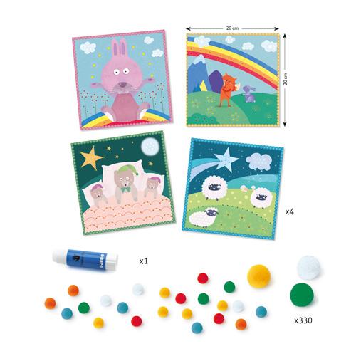 Djeco Djeco DIY Pomponschilderijen - Droomwereld - 3-6Y