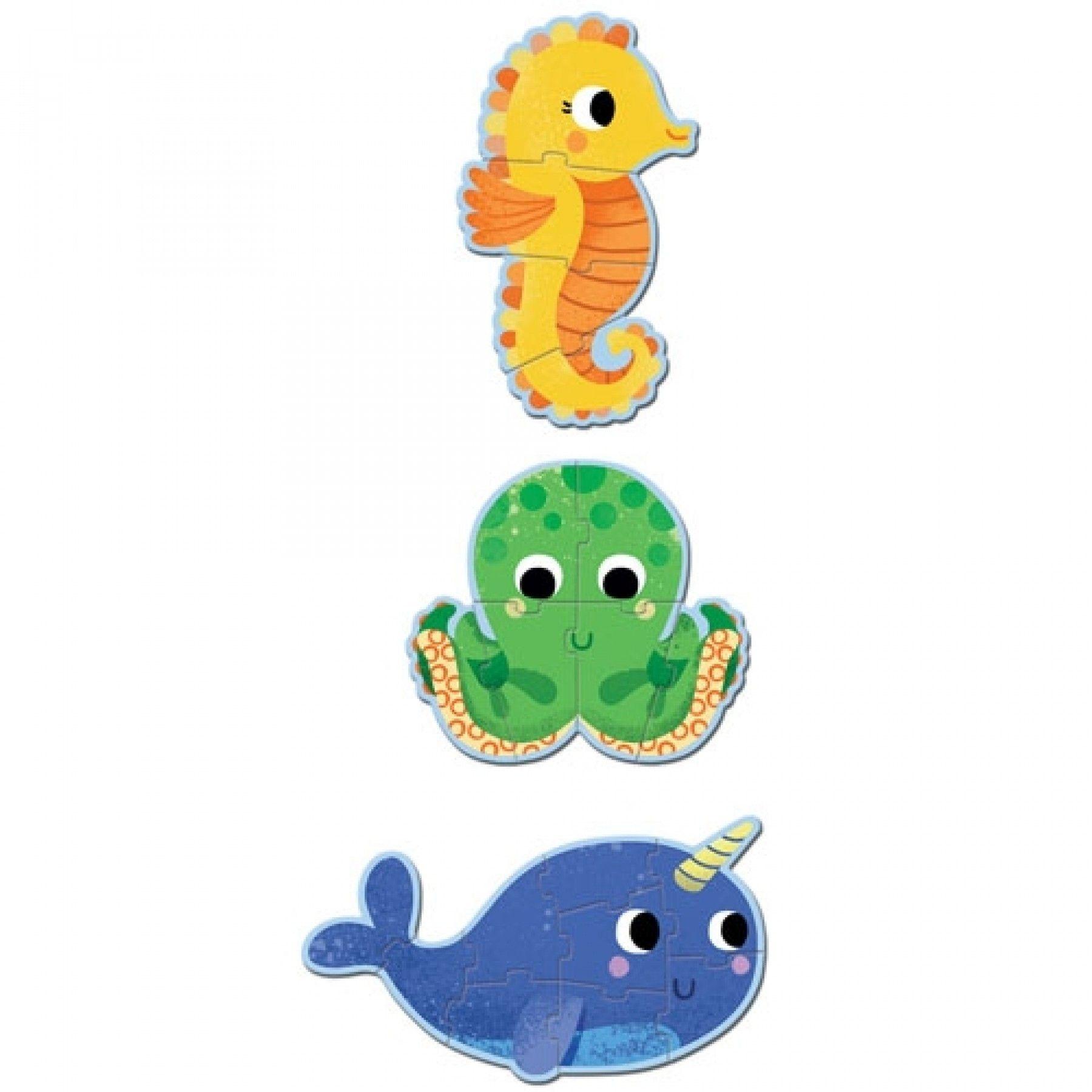 Djeco Djeco Puzzle Primo - In de zee - 3  puzzels 2y+