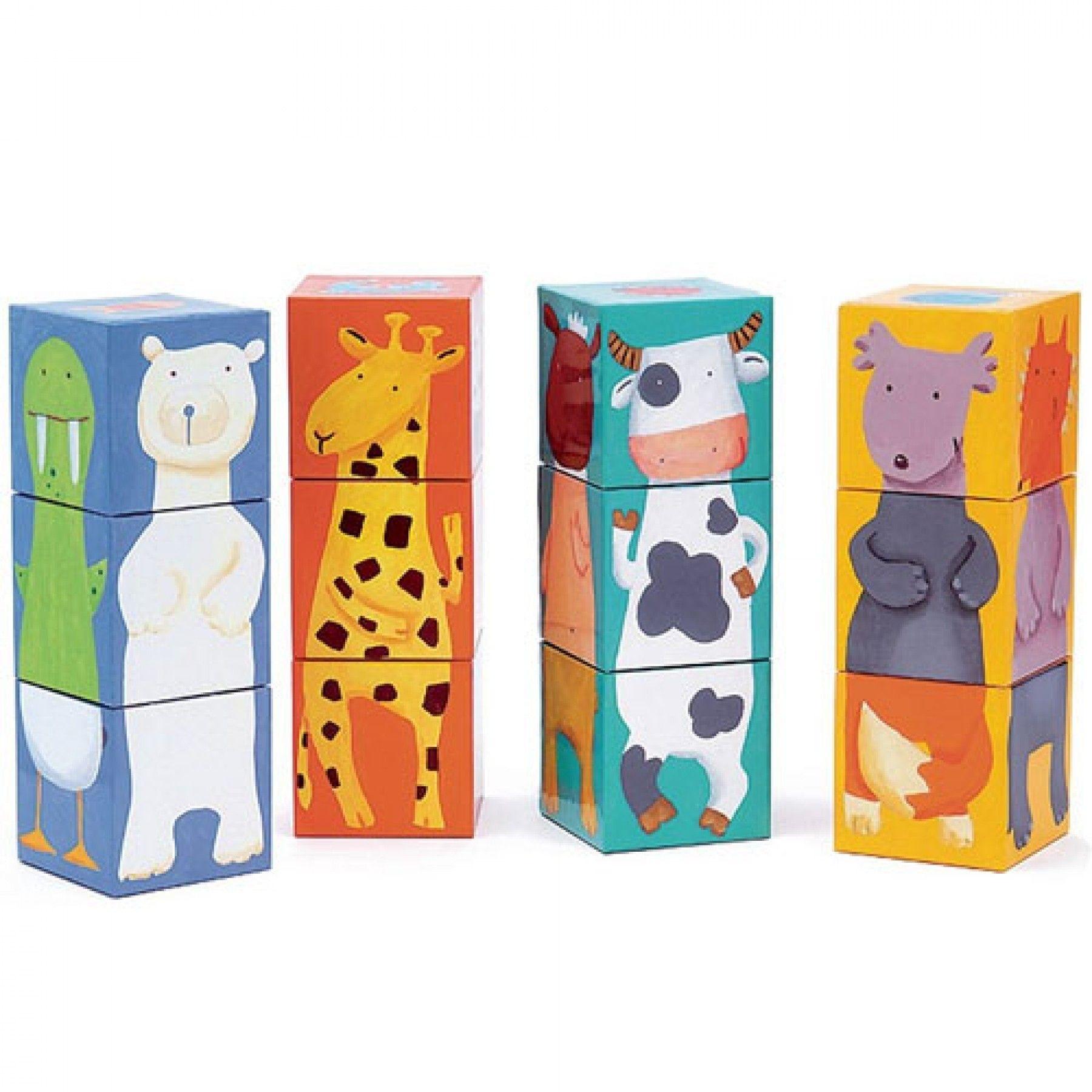 Djeco Djeco Blokken Puzzel - Gekleurde dieren - 12 pcs  3y+