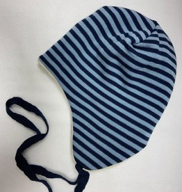 Reiff SALE! Reiff Muts Merino wol met katoenen plusch voering - Marine/Licht blauw gestreept