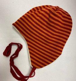Reiff SALE! Reiff Muts Merino wol met katoenen plusch voering - Rood/Oranje gestreept