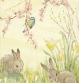 Margaret Tarrant, Rabbits and Blue Tits With Spring Flowers PCE 295