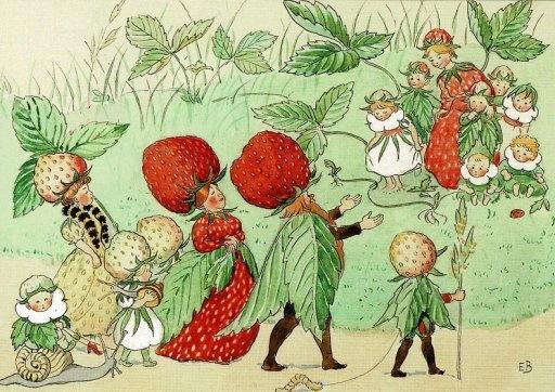 Elsa Beskow, De deftige Aardbeien gaan voorbij (16048)