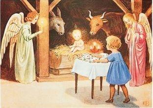 Elsa Beskow,  Kerstmis in de stal (21092)