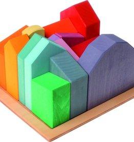 Grimms Grimms Gekleurde huisjes - Groot - Regenboog kleuren - 14 stuks