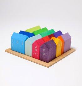 Grimms Grimms Gekleurde huisjes - klein - Regenboog kleuren - 15 stuks