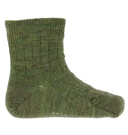 Joha Joha dunne wollen sokken - Rib - Mosgroen (60016)
