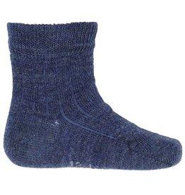 Joha Joha dunne wollen sokken - Rib - Denim blauw melange (60021)