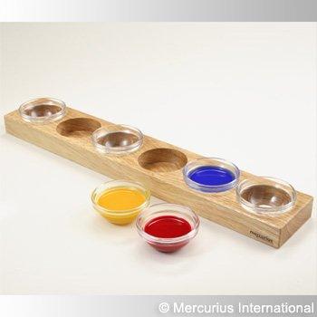 Houten houder voor 6 glazen schaaltjes