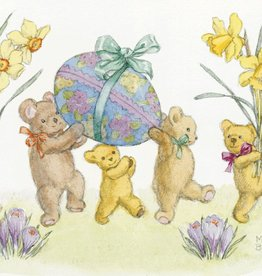 Molly Brett Five Teddy Bears with Daffodils and Easter Eggs PCE 123