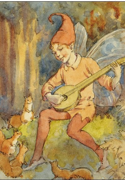 Margaret Tarrant, Fairy Playing Lute PCE 022