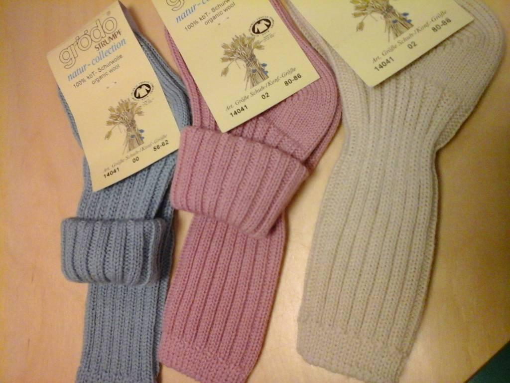 Babysokjes wol Grödo 14041 met dubbele omslag