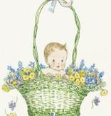 Molly Brett, Baby in a green Basket of Flowers PCE 060 Ansichtkaart