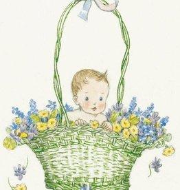 Molly Brett, Baby in a green Basket of Flowers PCE 060