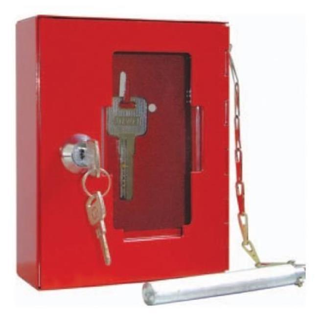 Brandbeveiligingshop Sleuteldoosje metaal met breekbare glazen voorkant