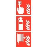 Veiligheidspictogram combi brandmelder blusser haspel