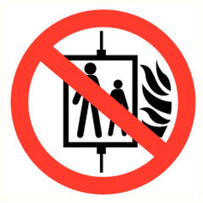 Pikt-o-Norm Veiligheidspictogram verboden de lift te gebruiken bij brand