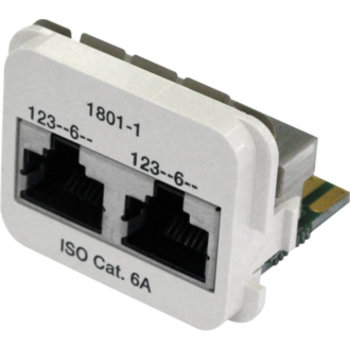 Adapter 2×RJ45 ISO Kat.6A perlweiss geschirmt, 100Base-T/100Base-T