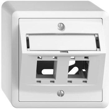 Feller AP-Montageset EDUE freenet Schrägauslass, für 2×RJ45 weiss