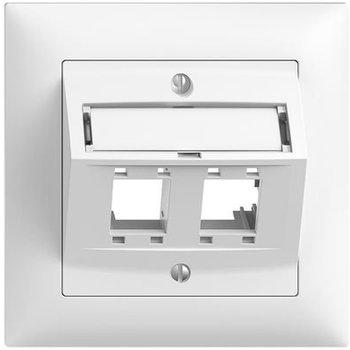 Feller UP-Montageset EDUE freenet FMI Schrägauslass, für 2×RJ45 weiss