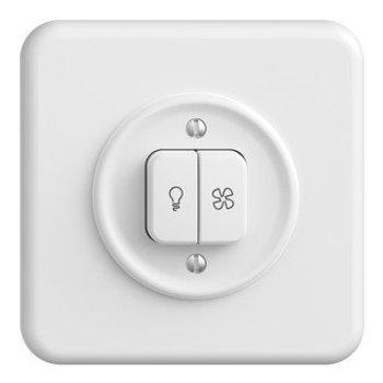 Feller UP Schalter für Licht + Ventilator StandardDue, weiss, KS, LED gelb