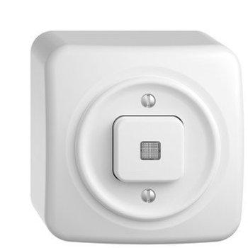 Feller AP pulsante luminoso StandardDue Schema 6, bianco con lente, KS, LED giallo