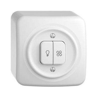 Feller AP Schalter für Licht + Ventilator StandardDue weiss,KS, LED gelb