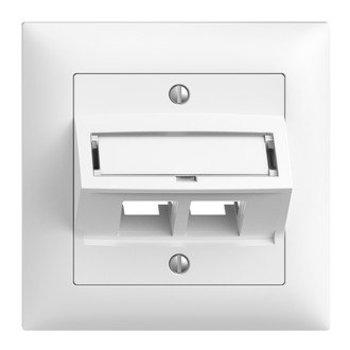 Feller UP Assemblée a S-One EDIZIOdue 2 × RJ45 obliquement, blanc