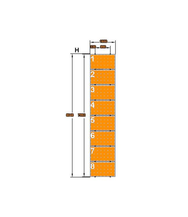 Clickfit 8 Panelen Landscape - Verticale rails - Clickfit Evo Montageset zonnepanelen voor pannendak