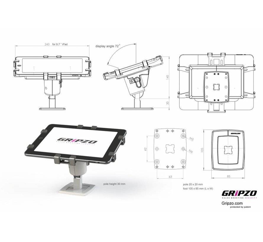 "Grip Secure stand 7-11"" tablets"