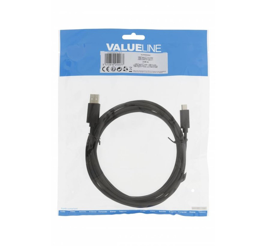 USB 2.0 Kabel USB-C 3 m Zwart