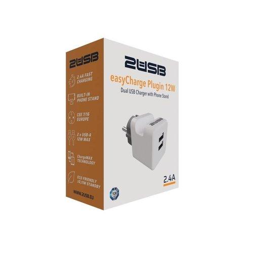 2USB easyCharge Plugin met ingebouwde telefoonhouder