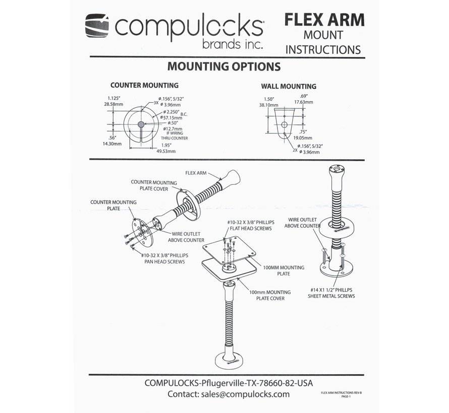 Compulocks Flex Arm VESA Counter Top Kiosk Mount Black