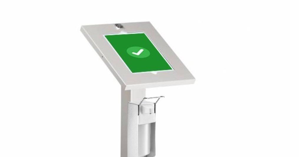 Tabboy-Sani tabletvloerstandaard met desinfectie dispenser