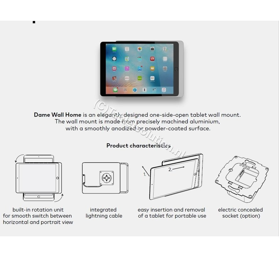 Dame Wall Home iPad 10.2, zwart  - Wit