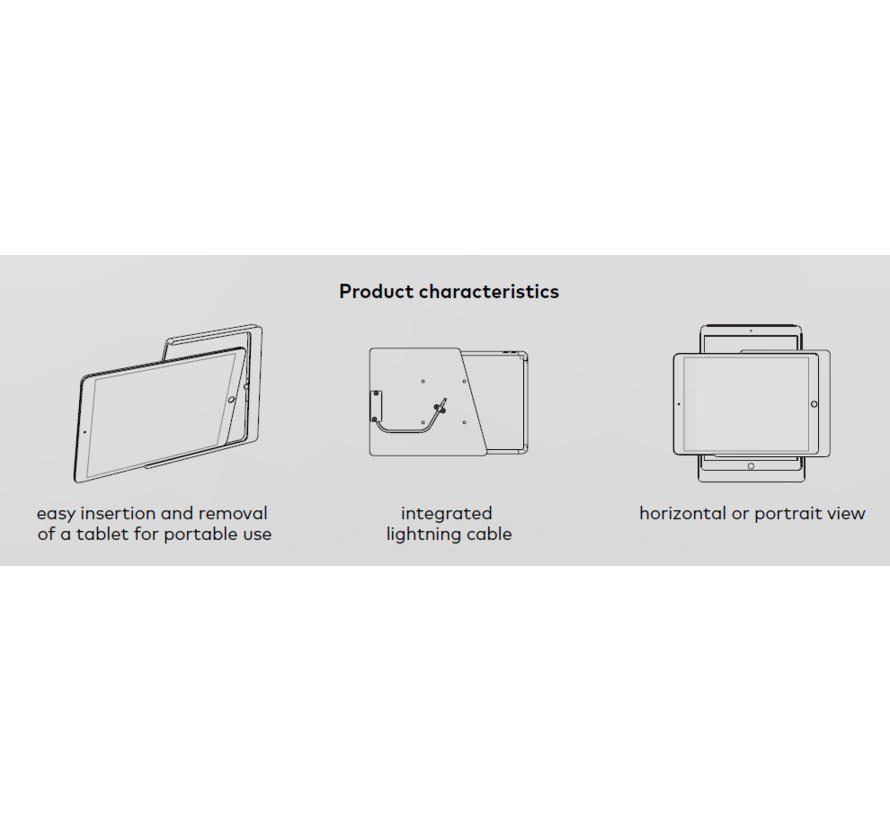 Companion Wall Home Slide-in wandhouder Samsung Galaxy Tab A7 10.4 Zwart