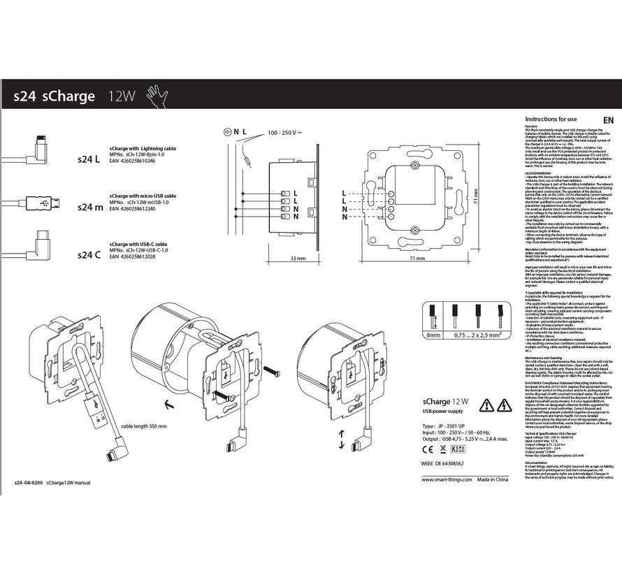 sCharge 12W inbouw voedingsadapter met USB-C
