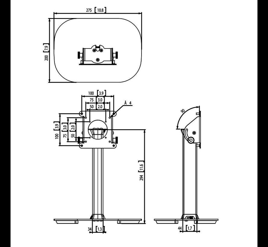Tablock Tafelstandaard met voetplaat en Tablethouder set