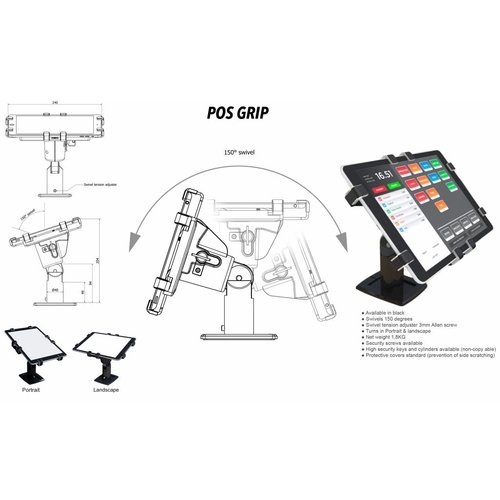 "Gripzo 360 POS Tablet Kiosk Swivel & Rotate 7-11"" tablets"