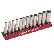 Kraftwerk 12-teiliger Steckschlüsselsatz auf magnetischer Stecknuss-Schiene