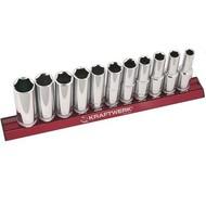 Kraftwerk 11-teiliger Steckschlüsselsatz auf magnetischer Stecknuss-Schiene