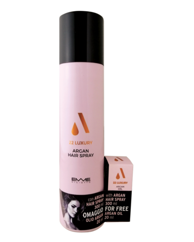 22 Luxury Argan Hairspray 300ml with FREE 20ml Argan oil