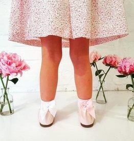 Meia Pata Korte kousjes roze met strik achteraan
