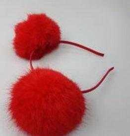Siena Diadeem met pomponnen rood
