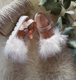 Clarys Sandaal met pluche in nude kleur