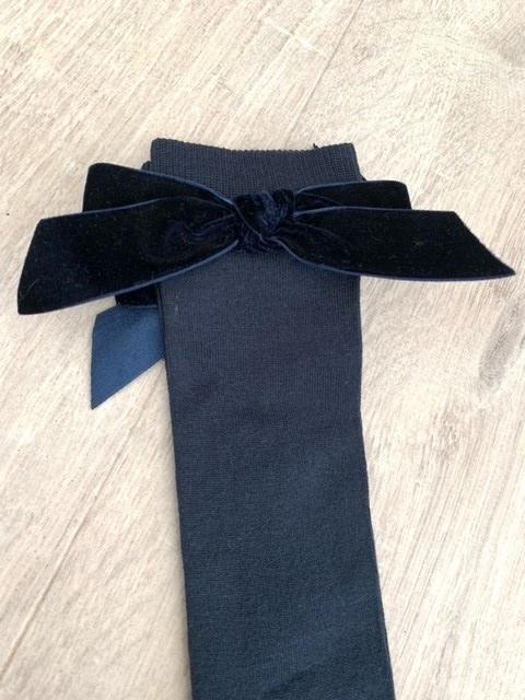 Meia Pata Kniekousjes donker blauw met velvet strik