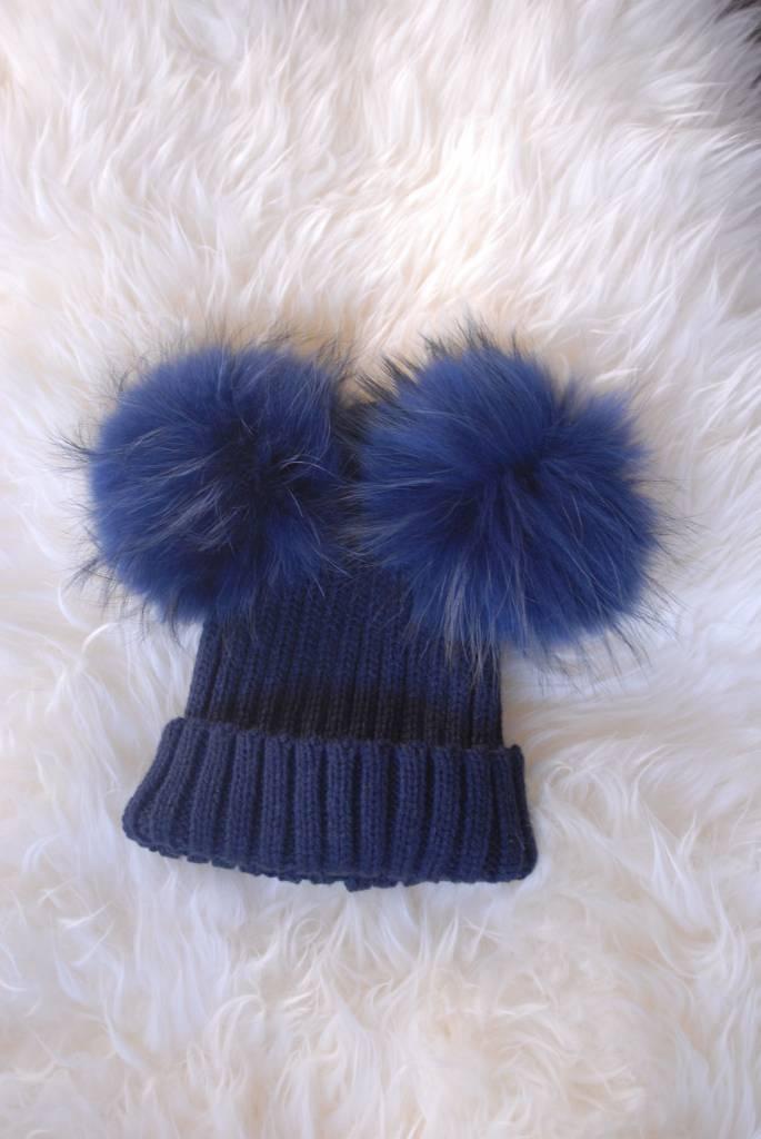 La Jolie Muts donker blauw - 2 pompons