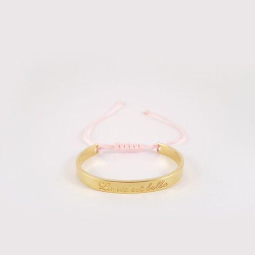 Petite Jae Armband Kids Geel goud + licht roze