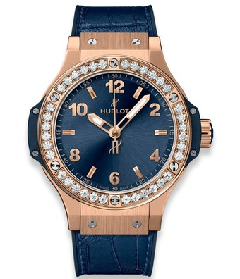 Hublot Horloge Big Bang 38mm Gold Blue Diamonds 361.PX.7180.LR.1204