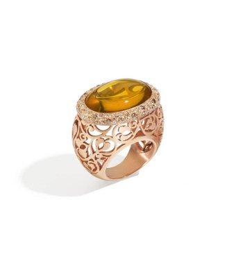 Pomellato Arabesque Ring 18 Carat Rose Gold / Amber Diamond